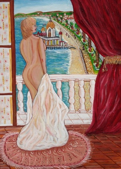 Rose Calvino - femme au balcon vue casino de la jetee nice 1900
